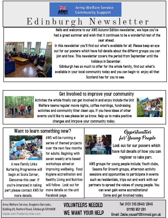 Edinburgh Newsletter Sept to Dec 2019